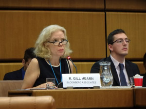 Rose Gill Hearn (Bloomberg Associates) presenting at a panel discussion on tackling money laundering at the 4th UNCAC IRG Briefing for NGOs with Nick Maxwell (TI-UK)