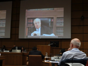 Judge Mark Wolff speaking at a panel discussion on special measures against grand corruption at the 4th UNCAC IRG Briefing for NGOs